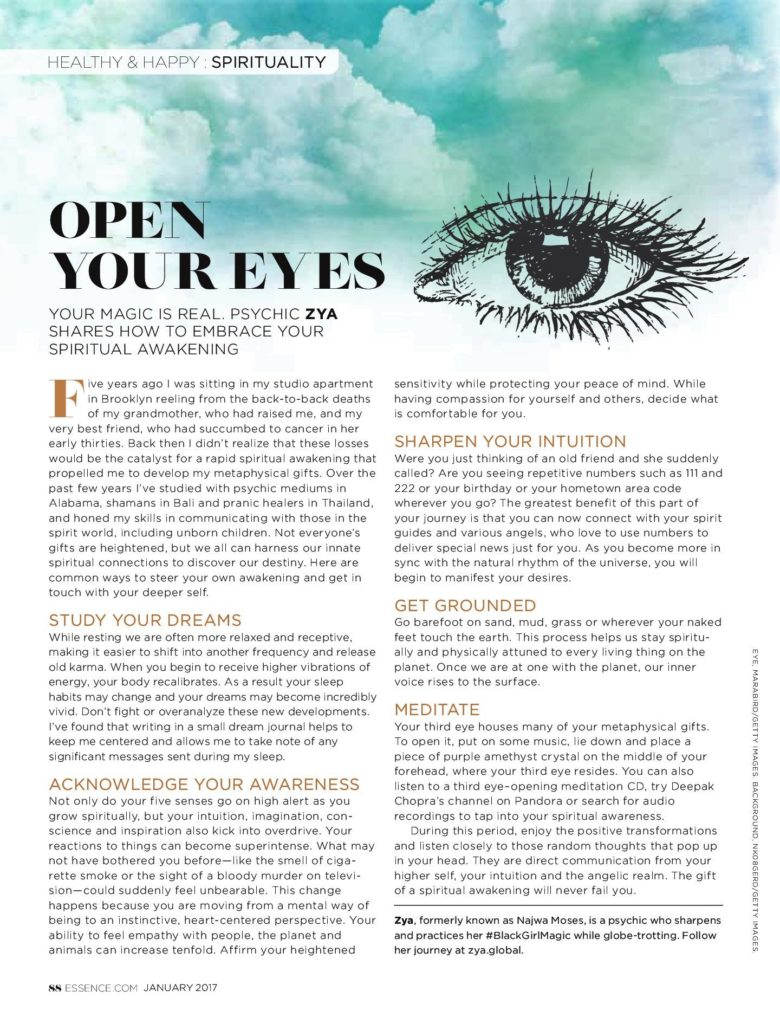 Psychic Zya's Essence Magazine Article