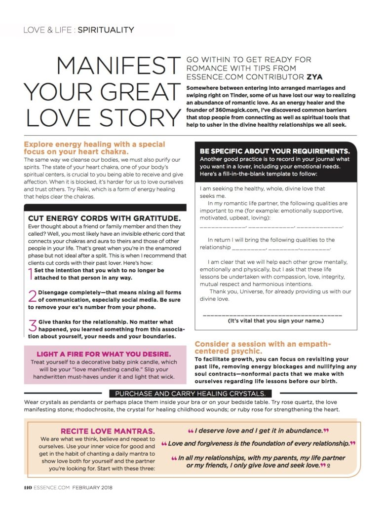PSYCHIC ZYA GIVES LOVE TIPS FOR ESSENCE MAG